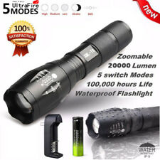20000 Lumens 5 Modes Zoomable Flashlight LED XM-L T6 LED +18650 Battery Torch A