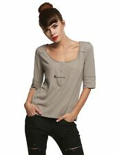 Women Fashion Casual Henley Neck Short Sleeve Solid Basic T-Shirt Top BSTY01