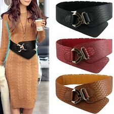 Women Wide Waist Belt Vintage Metal Flower Elastic Stretch Buckle New Waistband