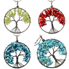 Peridot/Red Coral Gemstone Tree of Life Chips Beads Copper Wire Wrapped Pendant
