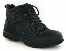 SALE Mens Black Leather/Textile Lace Up Walking Hiking Boots A3032