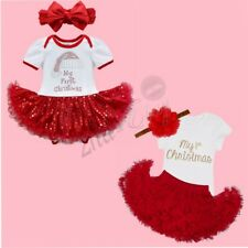 My First Christmas Infant Baby Girl Santa Romper Tutu Dress Outfit Set Bodysuit