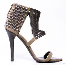 new $1195 GIUSEPPE ZANOTTI for BALMAIN taupe suede STUDDED CHAIN MESH shoes HOT
