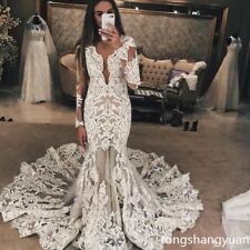 Mermaid Lace Applique Wedding Dresses White Ivory Bridal Gowns Custom Train 2017