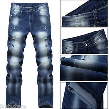 Men's Ripped Skinny Biker Jeans Destroyed Ripped Designed Slim Fit Pants