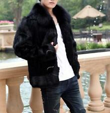 Mens trench coat outerwear Peacoat faux mink fur Thick warm winter Jacket coat