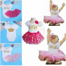 1st ONE Crown Birthday Dress Infant Baby Girl Romper Bodysuit Tutu Skirt Outfit