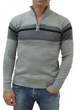 NEW Tommy Hilfiger Men's Half-Zip Pullover Knitted Cotton Sweater Gray