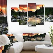 Rocky Mountain River at Sunset - Extra Large Wall Art Landscape