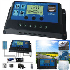 Solar Panel Charger Controller 10A 20A 30A 12V/24V USB LCD Battery Regulator