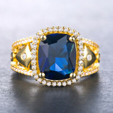 18k Yellow Gold Plated Gorgeous Jewelry Blue Sapphire Wedding Ring Size 6-10