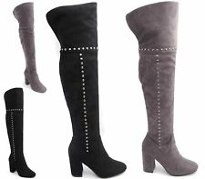 Womens Over The Knee Thigh High Block Heel Ladies Zip Back Studs Casual Boots
