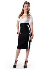 Rockabilly Pencil Wiggle Skirt 50s Retro Steady Sarina Slit Black & Red