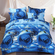 Rose Flower Doona Duvet Quilt Cover Set Queen King Size Floral Bed Pillowcases