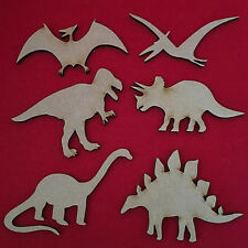 Wooden Dinosaurs Shapes 100mm MDF Craft Blanks, T Rex, Brontosaurus, Triceratops