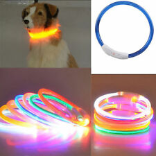 LED Light Flashing Glow Luminous Adjustable Pet Dog Safety Collar Night Rubber