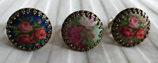 Michal Negrin Roses Vintage-Look Round Fabric Cameo Ring CHOOSE COLOR NEW! $60