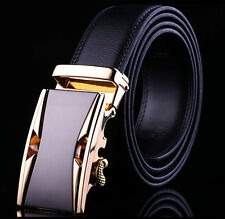 Men Business Auto Lock Belts Buckle Adjustable Genuine Leather Waist Strap Belt