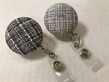 Lot of 2 Modern Hatch Retractable Badge Reels ID Holder, Nurse Name Badge Clip