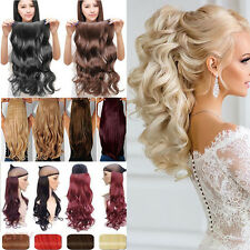 US Real Thick Clip In As Human Hair Extensions Long Full Head Hair Extentions F3