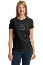 Basset Hound - Ladies Rhinestone Black T-Shirt - Sizes Small through 3XL