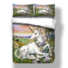 Unicorn Doona Duvet Quilt Cover Set Single Queen King Size Animal Bed Covers New