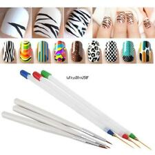 3pcs DIY Acrylic Drawing Painting Striping UV Gel Pen Nail Art Brush Set New