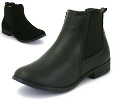 Ladies Faux Leather Chelsea Brogue Boots Pull On Smart Formal Office Ankle Brogu