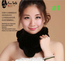 Hot fashion women lady's Real Rex Rabbit Fur Self-Tied Scarf Neck Warmer black