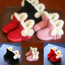 Kids Girl Hairball Cute Pumps Fur Snow Ankle Boots Tassel Warm Winter Shoes Size