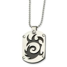 Stainless Steel Swirl Design Dog Tag Pendant Necklaces - 42x23mm Bead