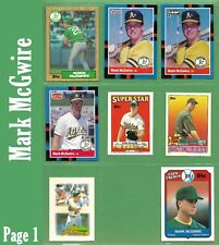 Mark McGwire and Jose Canseco 1987 1988 1989 1990 1991 1992 Oakland As  - NM/MT