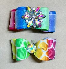 Dog Hair Bows- Multi Color Ombre Double Loop Dog Bow Leopard Spots Dog Bow Doubl
