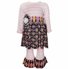 AnnLoren Girls Boutique Pink Striped & Gathered Medallion Dress 12/18 mo - 9/10