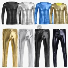 Sexy Men Wetlook Faux Leather Shiny V Neck T-Shirt Top Tight Pants Fancy Costume