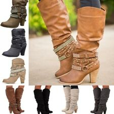 Women Rivet Punk  Buckle Mid-calf Slouch Boots High Chunky Heel Boots Shoes Size