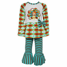 AnnLoren Girls Boutique Thanksgiving Aztec Turkey Clothing Set Sz 12/18mo-9/10
