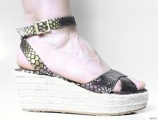 new JIMMY CHOO open-toe metallic snake X-strap espadrille WEDGES shoes 41 11 10