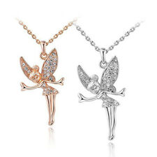 Chic Gold Silver Austrian Crystal Angel Fairy Pendant Sweater Chain Necklace