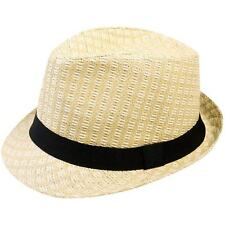 Simplicity Unisex Summer Woven Straw Fedora Hat & Hat Band