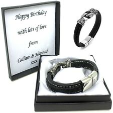 Boys Mens Leather Bracelet Engraved Clasp Personalised Christmas Birthday Gifts