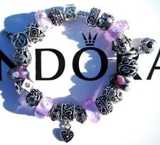 Authentic PANDORA Silver Charm Bracelet with Charms LAVENDER FIELDS EE60