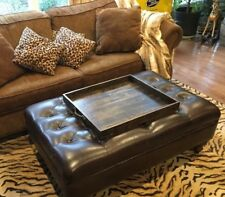 "Rustic Handmade 24"" x 20"" Wood Ottoman Coffee Table Serving Tray - Choose Color!"
