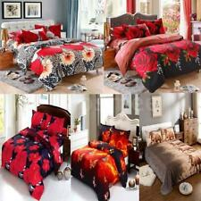 Home 4Pcs 3D Polyester Bedding Set King/Queen Size Quilt Cover Bed Sheet L7M5