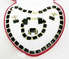 Fashion Lady Black Agate Necklace&Bracelet&Earring& Ring&Cufflinks Jewelry Sets