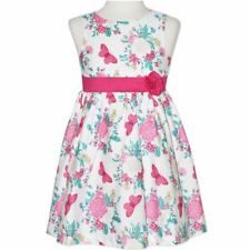 Girls White/Pink Floral/Butterfly Printed Dress