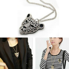 Crystal Leopard Head Bling Diamond 1 Pcs Necklace Sweater Chain Jewelry Queen