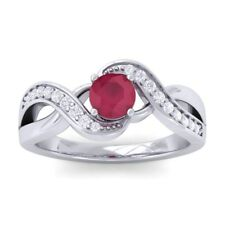 Red Ruby IJ SI Diamonds Gem Engagement Ring Women 14K Solid Gold