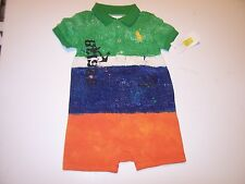 NEW Polo Ralph Lauren Layette Baby Boy Romper Jumpsuit Shortall Big Pony 6M 6 mo