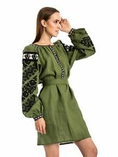 100% Linen GREEN Embroidered Dress Ukrainian Vyshyvanka Embroidery Ethnic